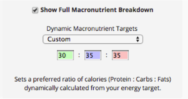 Dynamic macronutirent targets