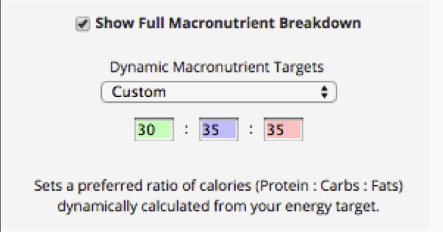 Dynamic macronutirent targets