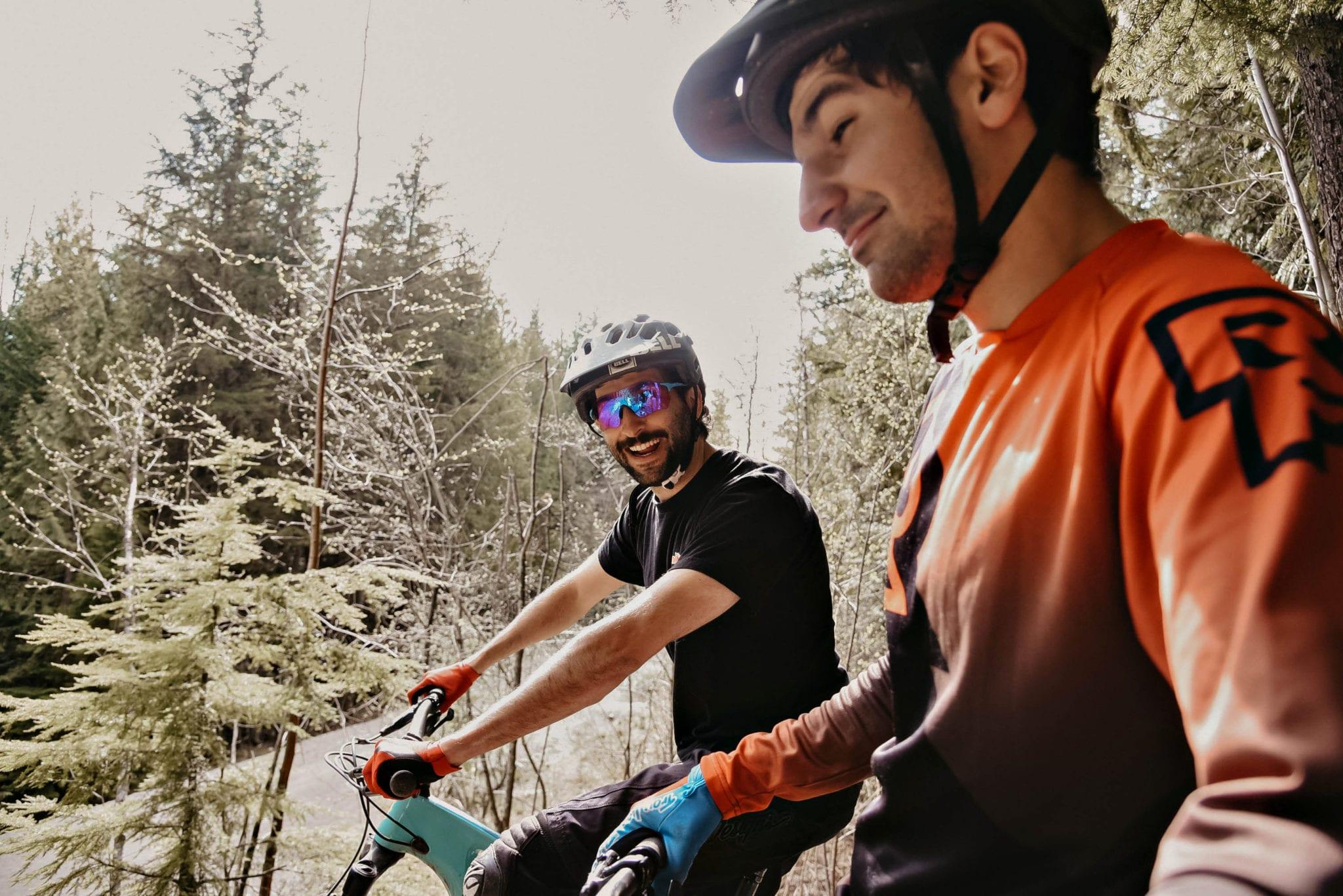 Cronometer staff mountain biking in Revelstoke, BC